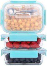 GENICOOK Fiambreras de cristal con mini cubiertos b08k39dh36