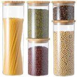 GENICOOK Tarros de cristal con tapa de bambú para b08z7l6gpr